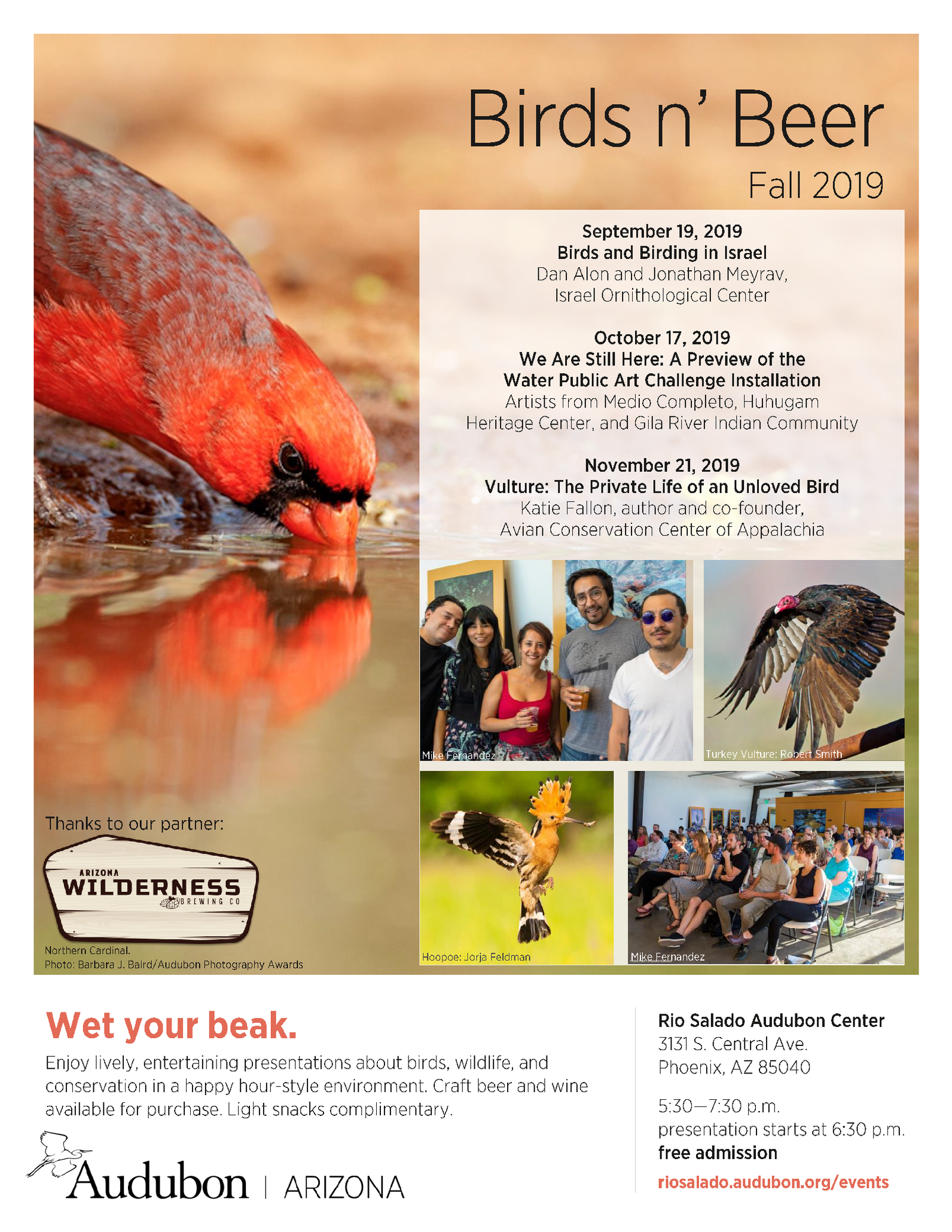 The Birds n' Beer flyer for Fall 2019. Event dates are on Sept 19, Oct 17, and Nov 21. Photos include a Northern Cardinal, Turkey Vulture, Hoopoe, and people enjoying the event.