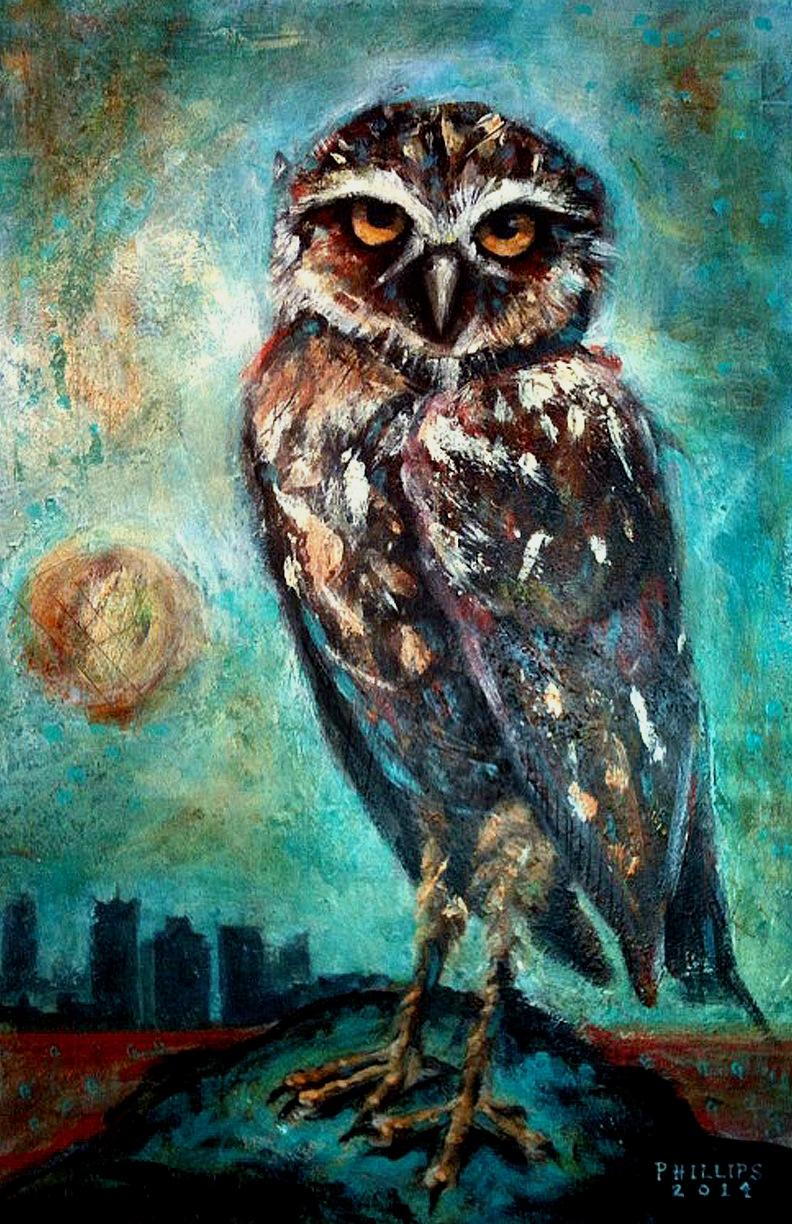 Downtown Owls Painting