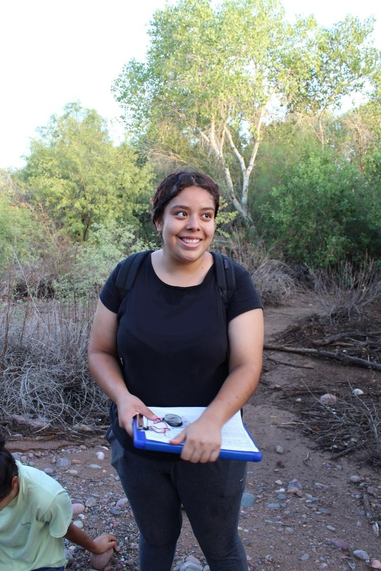 Aritzel Baez during her second season of interning at Audubon Arizona to survey for the Western Yellow-billed Cuckoo.
