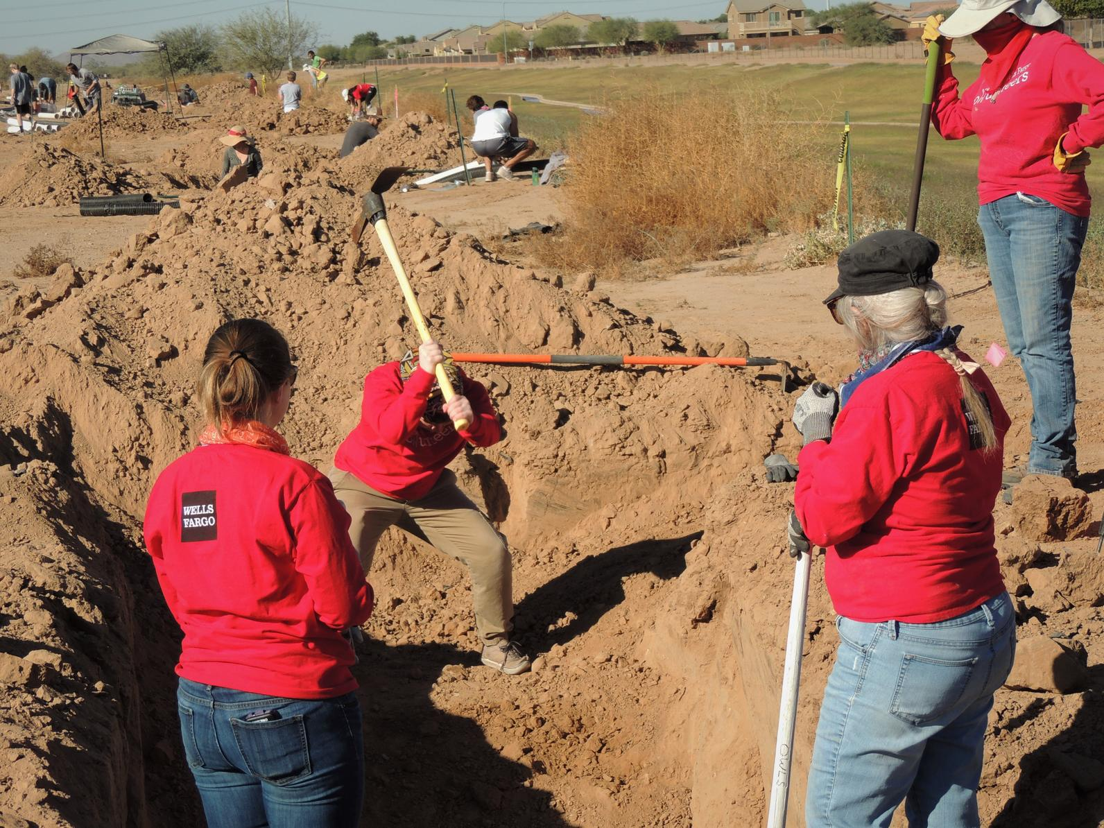 Volunteers dig a ditch with a pickax to install artificial owl burrows.