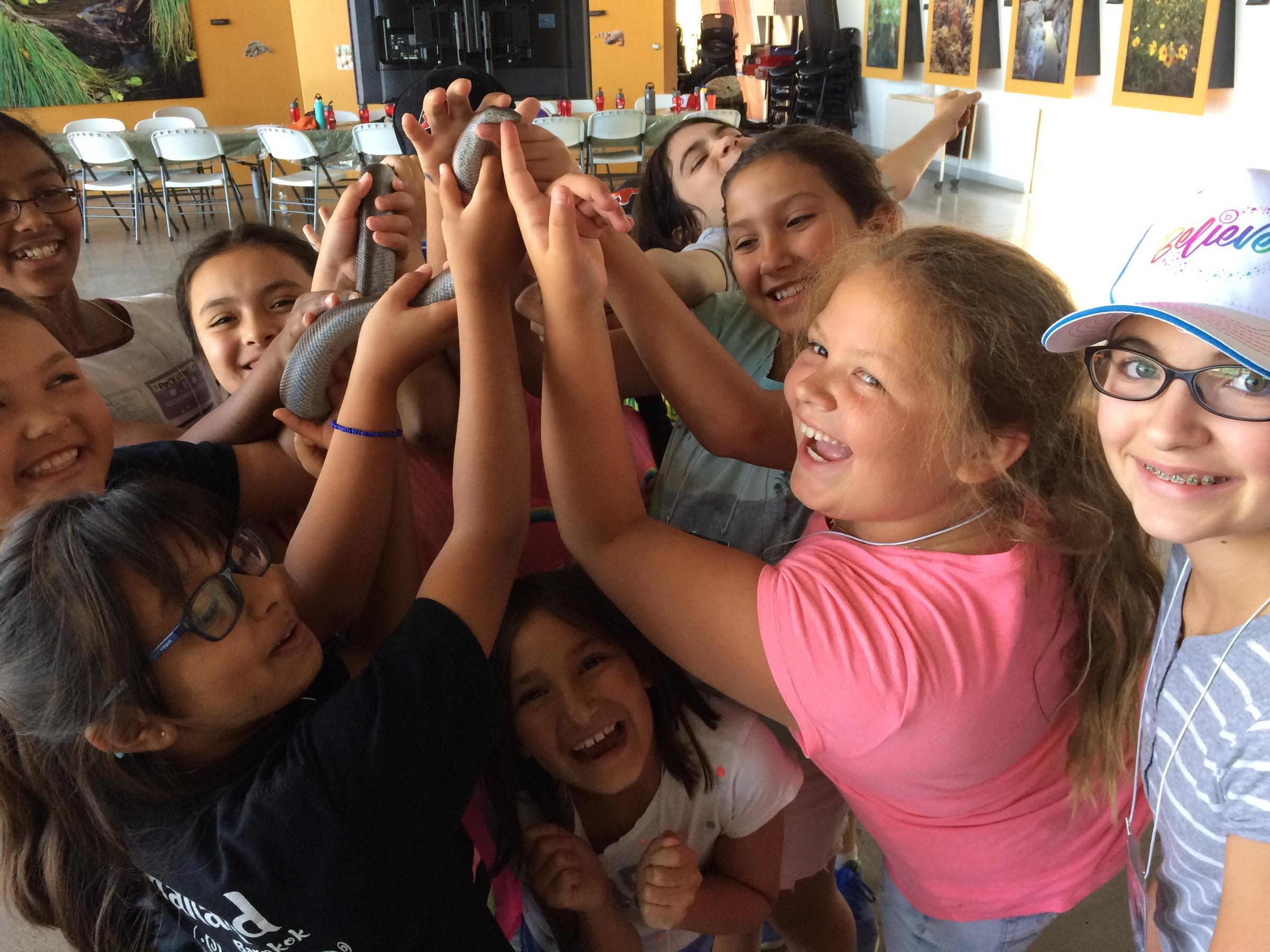 A group of girls at summer camp hold up Audubon Arizona's rosy boa snake.